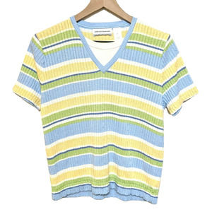 Alfred Dunner PL Short Sleeve Striped Sweater